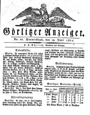 Görlitzer Anzeiger vom 28.06.1821