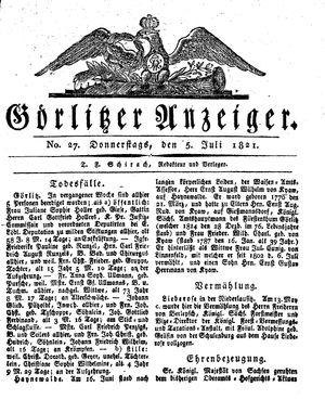Görlitzer Anzeiger on Jul 5, 1821