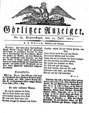 Görlitzer Anzeiger vom 12.07.1821