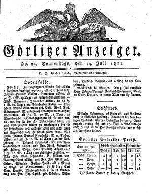 Görlitzer Anzeiger vom 19.07.1821