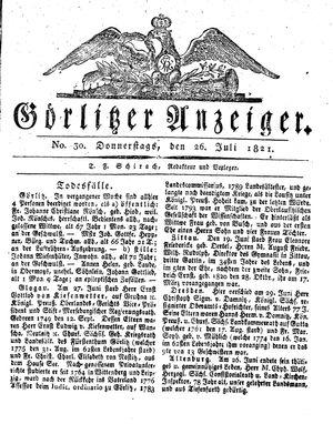 Görlitzer Anzeiger vom 26.07.1821