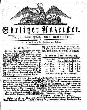 Görlitzer Anzeiger vom 02.08.1821