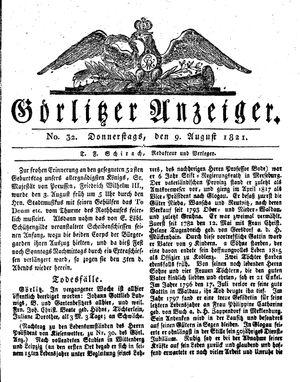 Görlitzer Anzeiger vom 09.08.1821