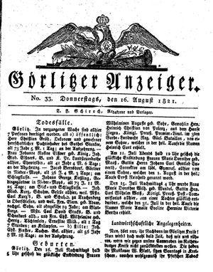 Görlitzer Anzeiger vom 16.08.1821