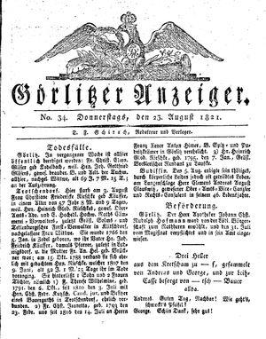 Görlitzer Anzeiger vom 23.08.1821