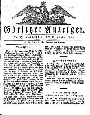 Görlitzer Anzeiger vom 30.08.1821