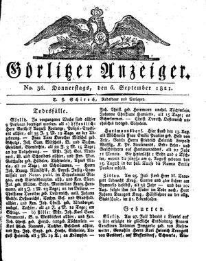 Görlitzer Anzeiger vom 06.09.1821