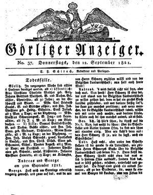 Görlitzer Anzeiger vom 13.09.1821