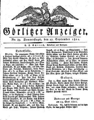 Görlitzer Anzeiger vom 27.09.1821