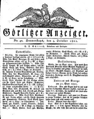 Görlitzer Anzeiger vom 04.10.1821