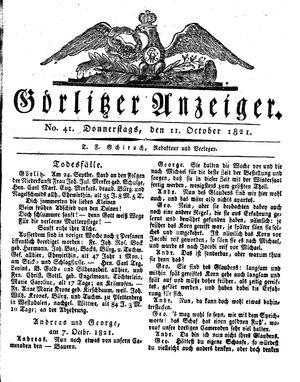 Görlitzer Anzeiger vom 11.10.1821