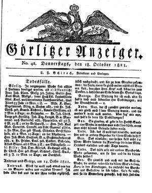 Görlitzer Anzeiger vom 18.10.1821
