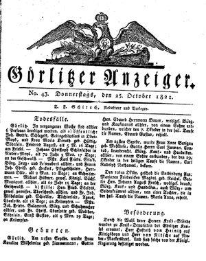 Görlitzer Anzeiger vom 25.10.1821