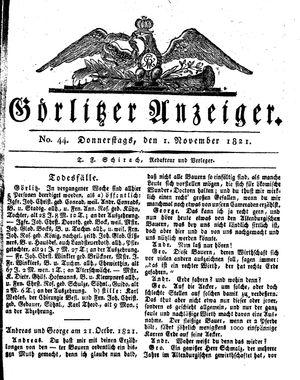Görlitzer Anzeiger vom 01.11.1821