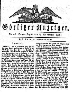 Görlitzer Anzeiger vom 15.11.1821