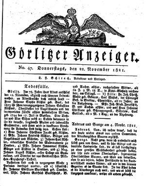 Görlitzer Anzeiger vom 22.11.1821