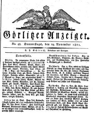 Görlitzer Anzeiger vom 29.11.1821