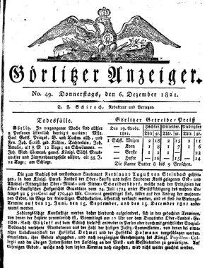 Görlitzer Anzeiger vom 06.12.1821