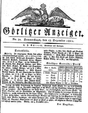 Görlitzer Anzeiger vom 13.12.1821