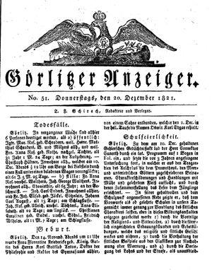 Görlitzer Anzeiger vom 20.12.1821