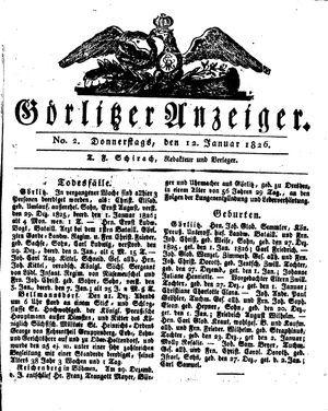 Görlitzer Anzeiger vom 12.01.1826