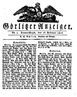 Görlitzer Anzeiger vom 16.02.1826