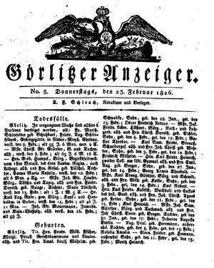 Görlitzer Anzeiger vom 23.02.1826