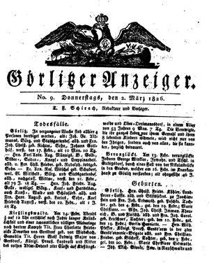 Görlitzer Anzeiger vom 02.03.1826