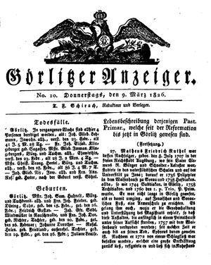 Görlitzer Anzeiger vom 09.03.1826
