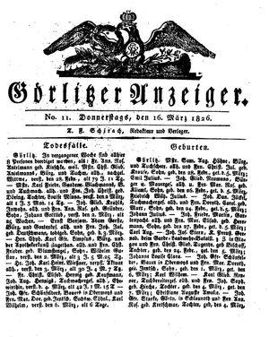 Görlitzer Anzeiger vom 16.03.1826