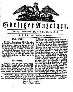 Görlitzer Anzeiger vom 30.03.1826