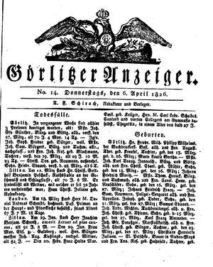 Görlitzer Anzeiger vom 06.04.1826