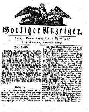 Görlitzer Anzeiger vom 27.04.1826