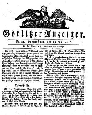 Görlitzer Anzeiger vom 25.05.1826