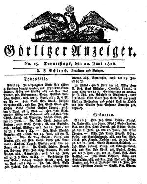 Görlitzer Anzeiger vom 22.06.1826