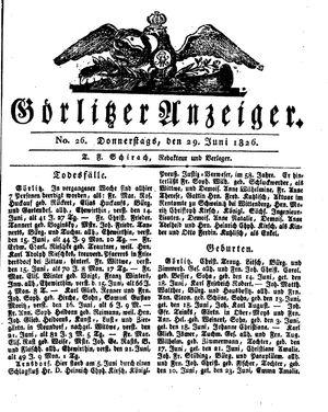 Görlitzer Anzeiger vom 29.06.1826