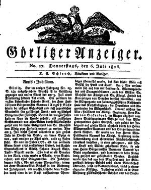 Görlitzer Anzeiger on Jul 6, 1826