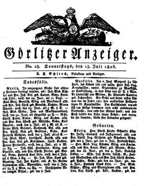 Görlitzer Anzeiger vom 13.07.1826