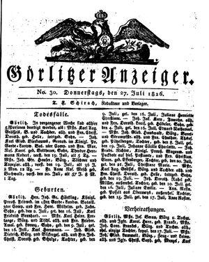 Görlitzer Anzeiger vom 27.07.1826