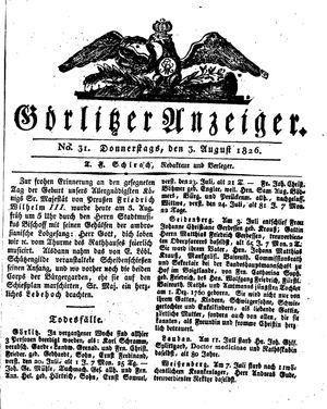 Görlitzer Anzeiger vom 03.08.1826