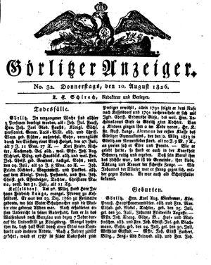 Görlitzer Anzeiger vom 10.08.1826