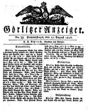 Görlitzer Anzeiger vom 17.08.1826