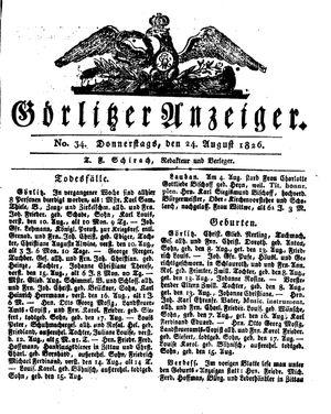 Görlitzer Anzeiger vom 24.08.1826