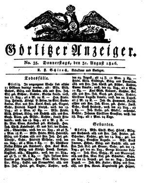 Görlitzer Anzeiger vom 31.08.1826