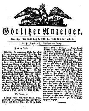 Görlitzer Anzeiger vom 14.09.1826