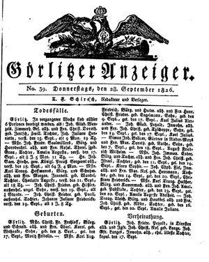 Görlitzer Anzeiger vom 28.09.1826