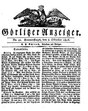 Görlitzer Anzeiger vom 05.10.1826