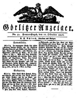 Görlitzer Anzeiger vom 12.10.1826