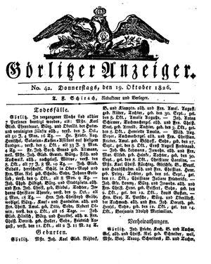 Görlitzer Anzeiger vom 19.10.1826