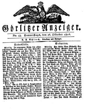 Görlitzer Anzeiger vom 26.10.1826